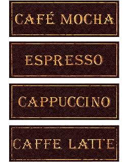 Vintage Paris Cafe Signs Cappucino Espresso Caffe Latte Caffee Mocha Kitchen