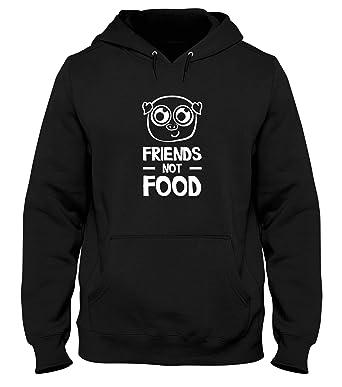 T-Shirtshock Sudadera con Capucha Hombre Negro WES0226 Friends Not Food: Amazon.es: Ropa y accesorios