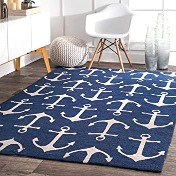 Ln 5x8 Blue White Nautical Anchors Area Rug Rectangle Shaped Indoor Outdoor Navy Boat Carpet For Patio Ocean Coastal Beach Themed Lake House Cottage Ship Sailboat Sea Water Polypropylene Furniture Decor