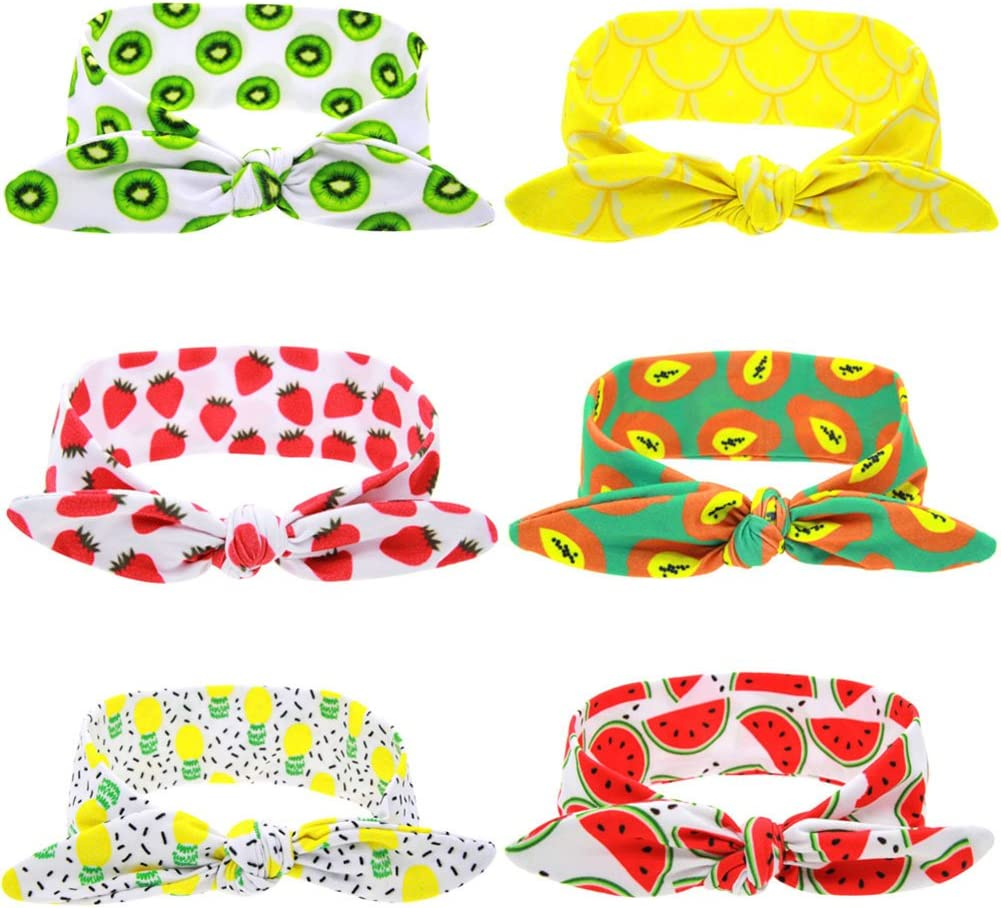 Qingsb fascia per capelli fascia elastica Papaya fragola kiwi frutta modello stampa Bowknot Head band Girls Accessories Lemon #