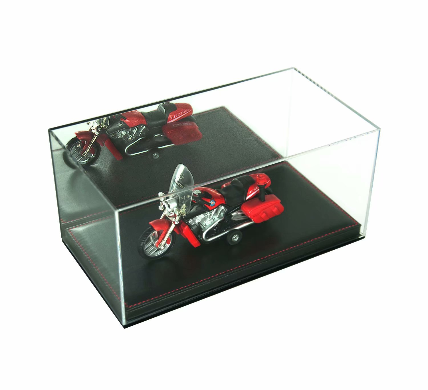 Combination of Life Acrylic Collectibles Countertop Display Case with Removable Riser Lift-Off Top & Black Leather Base 28x15x14cm