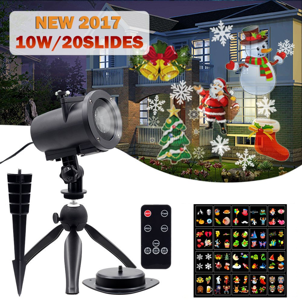 2 Pack 10W Landscape Projector Lights with 20PCS Design Slides and Remote Control IP65 Waterproof Spotlight Christmas Lamp for Halloween Easter Birthday Wedding Party Holiday Celebrations (2 pack) by FONLLAM (Image #1)