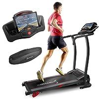 Sportstech Tapis de Course électrique F15 avec Commande par Application Smartphone, Bluetooth, 3 CV, 12 KM/H, 17 programmes d'entraînement, Support pour Tablette, Pliable et Compact, Silencieux