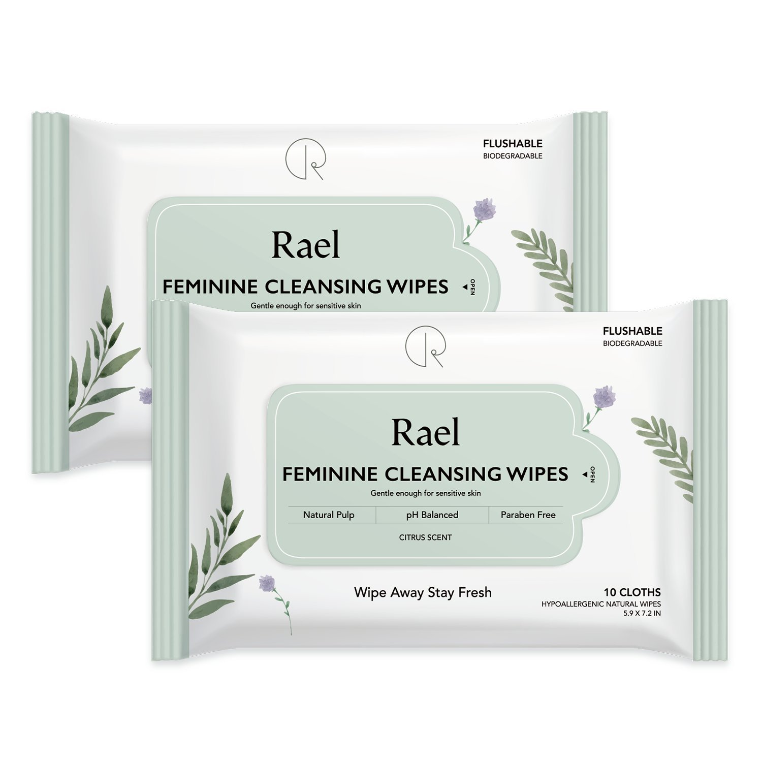 Rael Feminine Wipes with natural ingredients, use day or night, flushable, pH-