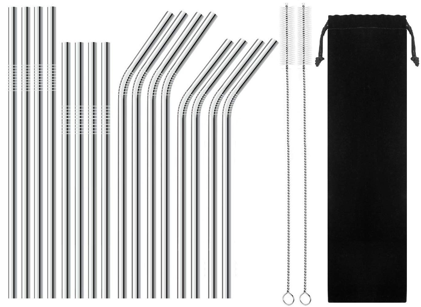 BGMAX Reusable Stainless Steel Straws Set of 16 for 30oz 20oz Tumblers Starbucks Mason Jar, Long Short 8.5'' 10.5'' Metal Drinking Straight Bent Straws for 30 20 Ounce Yeti Ozark Trail Rambler Rtic