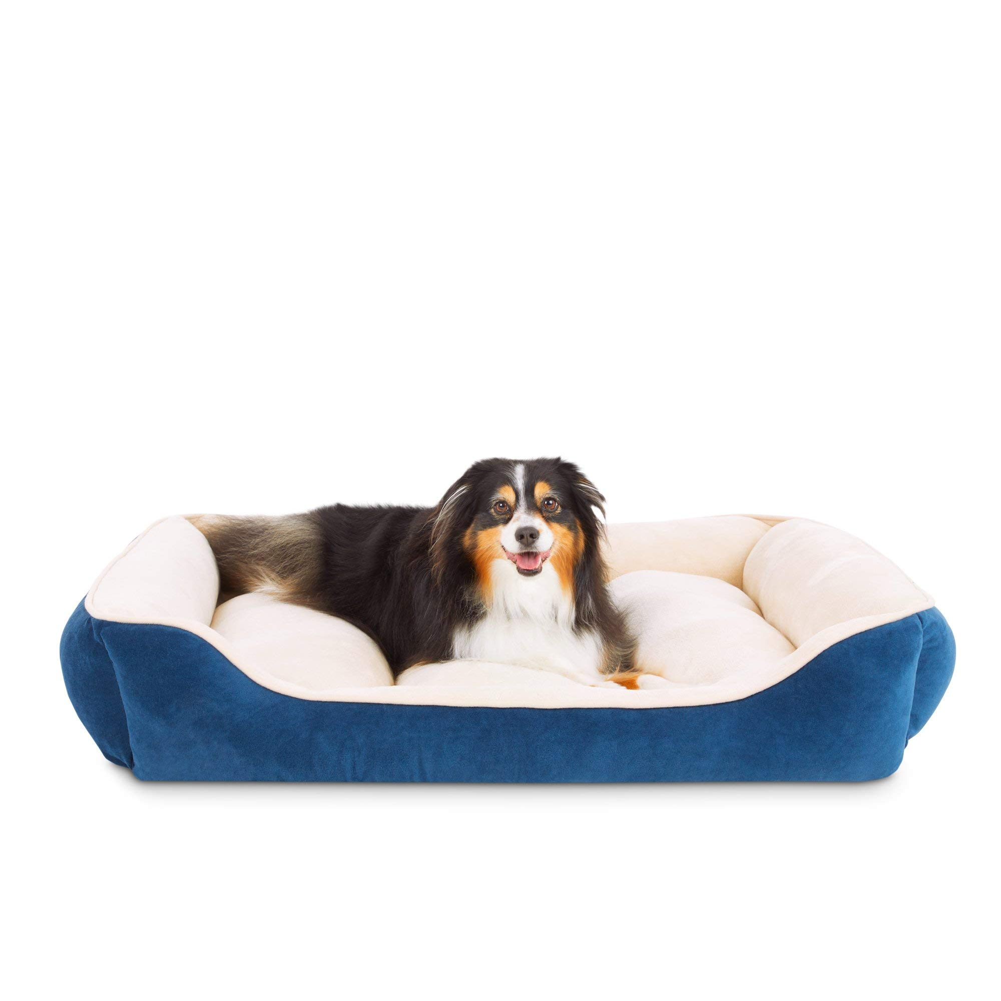 Animaze Navy Rectangle Bolster Dog Bed, 40'' L X 30'' W X 6'' H, Large, Blue by Animaze