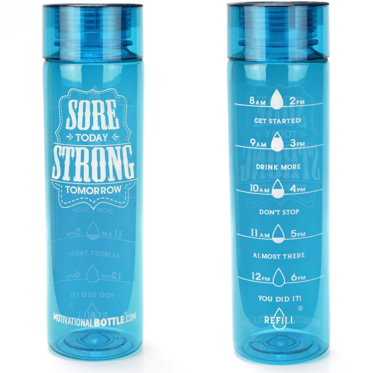 32oz Motivational Bottle Fitness Workout Sports Water Bottle with Unique Timeline | Measurements | Goal Marked Times For Measuring Your Daily Water Intake, BPA Free Non-toxic Tritan (aqua) by Motivational Bottle