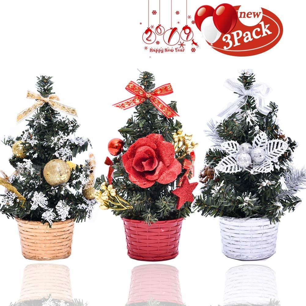 Christmas Tree Mini Artificial Christmas Trees Small Christmas Tree Xmas Decoration Xmas Ornament for Table, Desk Tops, Home Decor, Office, Table(3pcs/20cm)
