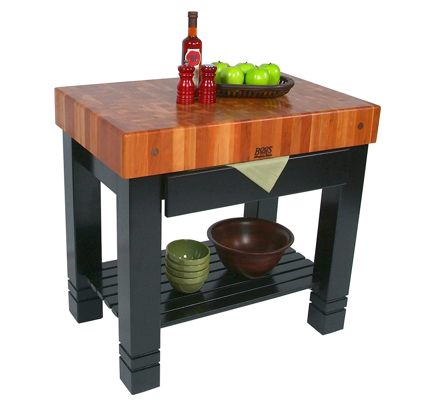 amazon com cherry top table w black painted base kitchen dining