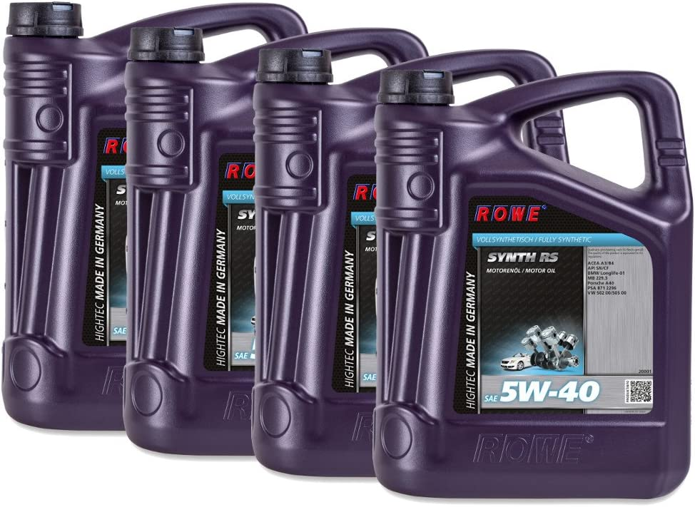 20 4x5 Liter Rowe Hightec Synth Rs Sae 5w 40 Auto