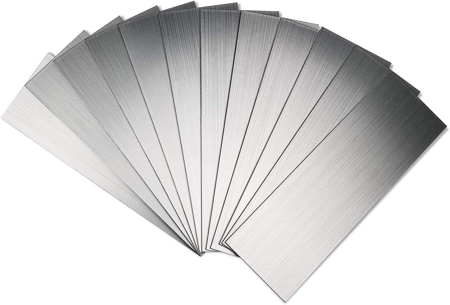"Art3d 4"" x 12"" Peel and Stick Stainless Steel Metal Tile for Kitchen, Subway Backsplash (15 Pack)"