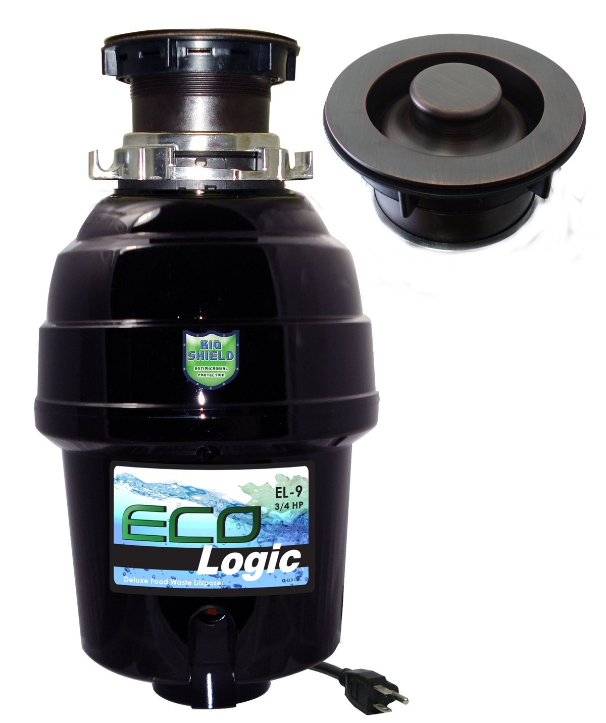 Eco Logic EL-9-DS-OR 9 Deluxe Designer Series Food Waste Disposer with Oil Rubbed Bronze Sink Flange, 3/4 HP