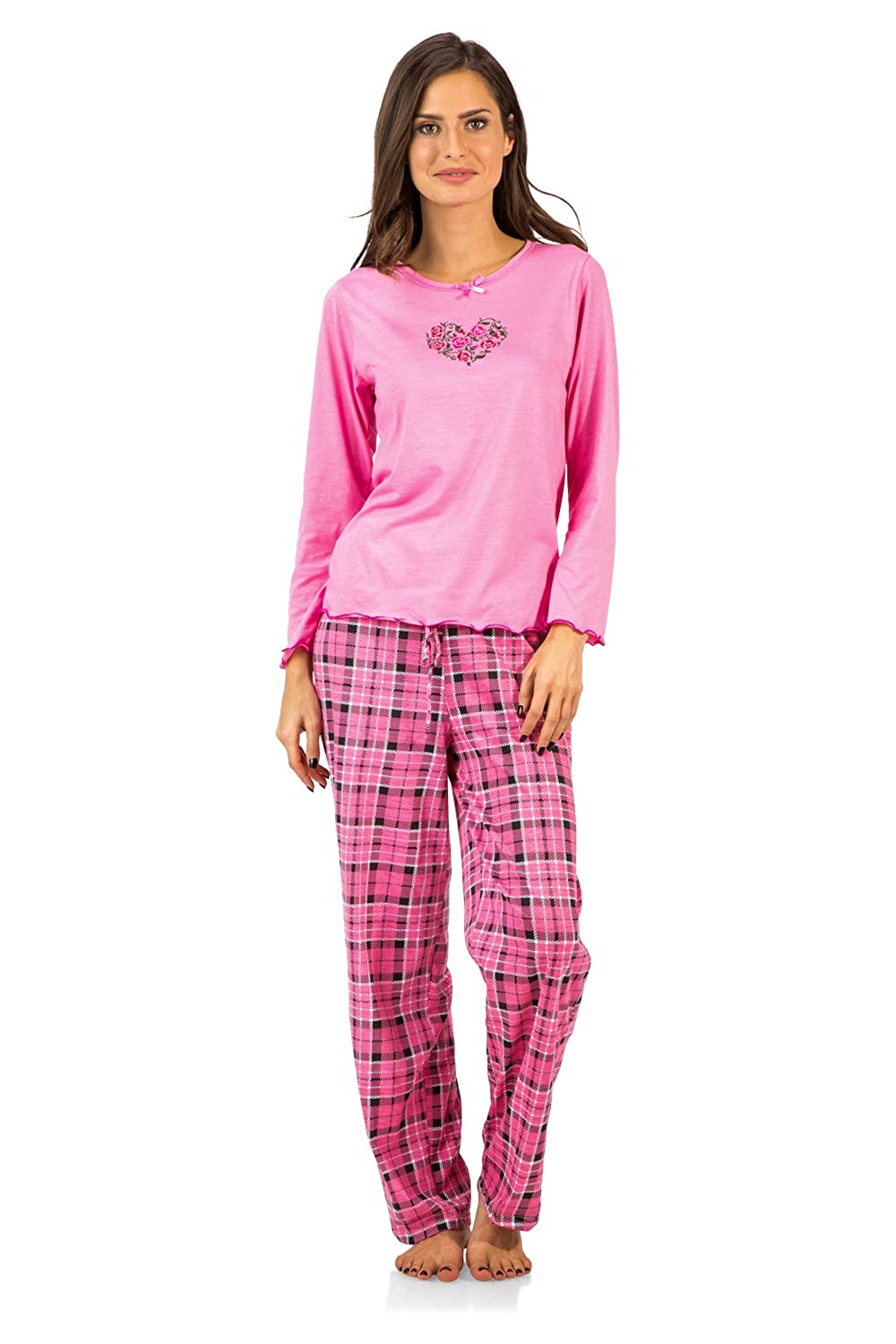 Casual Nights Women's Crew Top Long Sleeve Pajama Set 2 Piece Pj' s Set