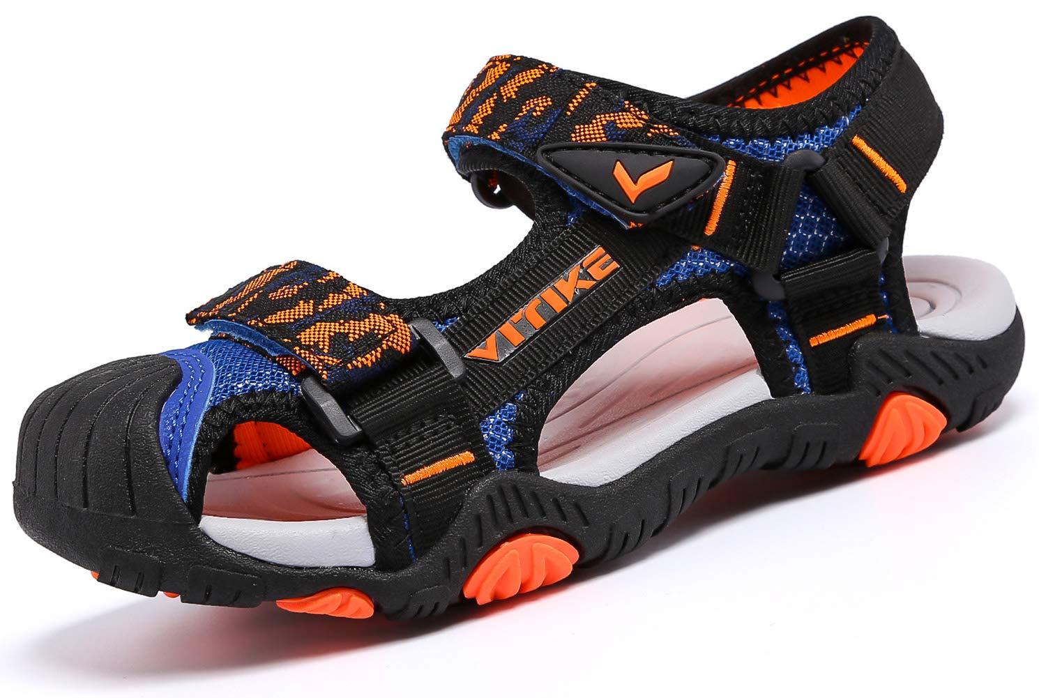 Littleplum Boys Girls Outdoor Sport Closed-Toe Sandals Kids Breathable Mesh Water Athletic Sandals Shoes Blue/Orange