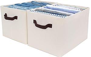 StorageWorks Storage Bins for Shelves with Metal Frame, Rectangle Storage Baskets, Jumbo, Beige, 2-Pack