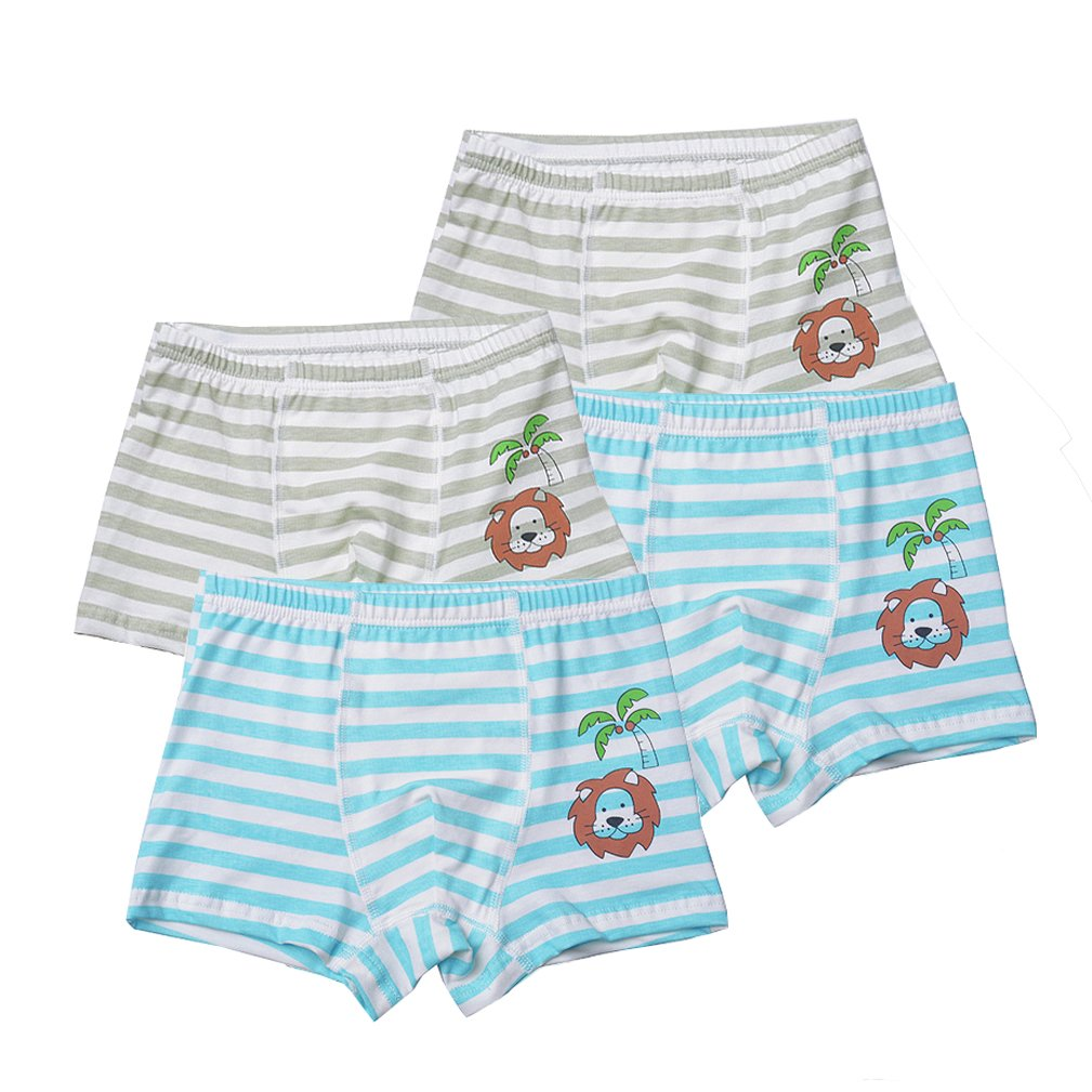 2-8 Year Toddler Boys Striped Lion Underwear Animal Nighttime Shorts 4 Pack