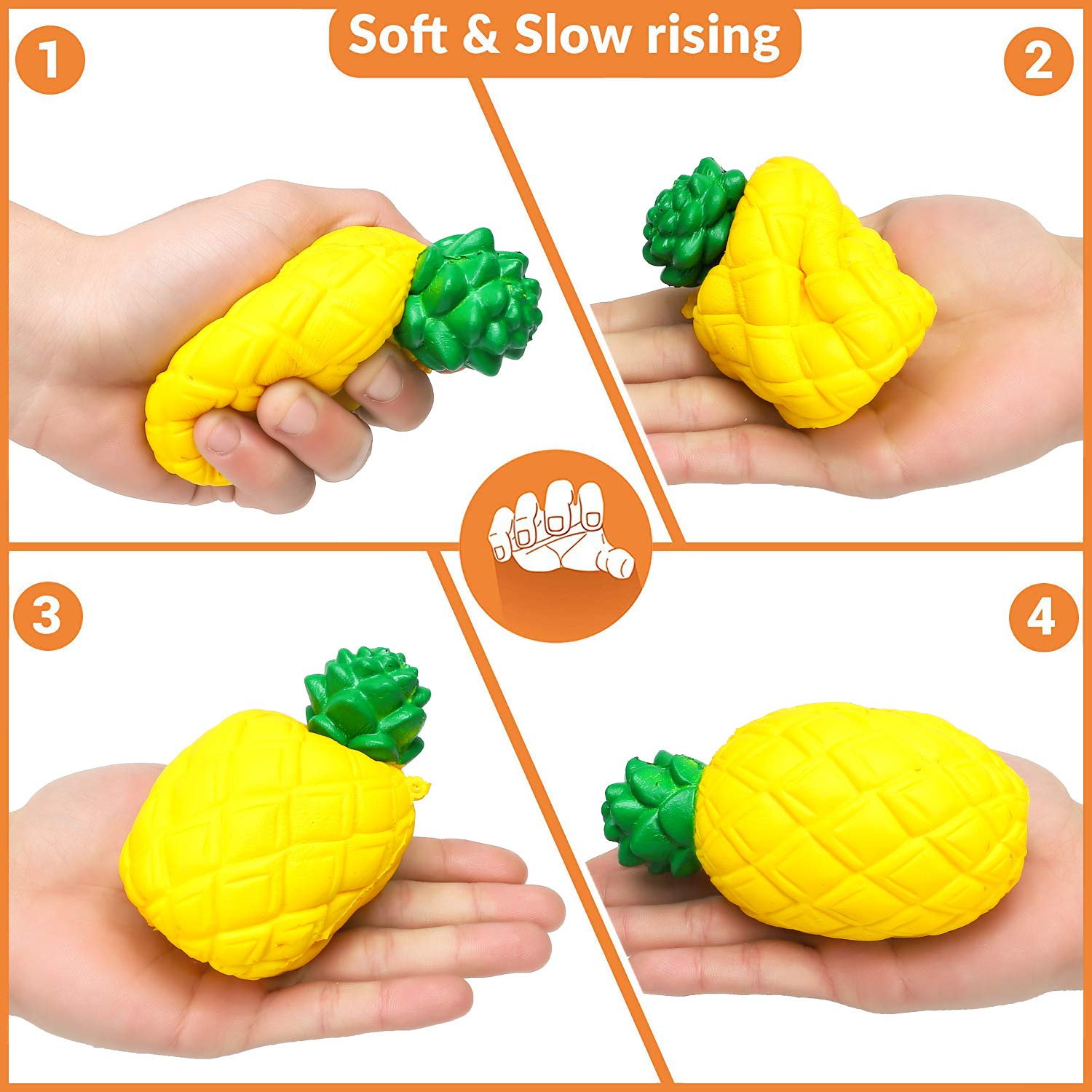 Decorative Props Party Favors SELove 7 Pcs Slow Rising Jumbo Fruit Squishies Set-Pineapple Strawberry Watermelon Apple Lemon Pear Banana Kawaii Cream Scented Stress Relief Toy Hop Props