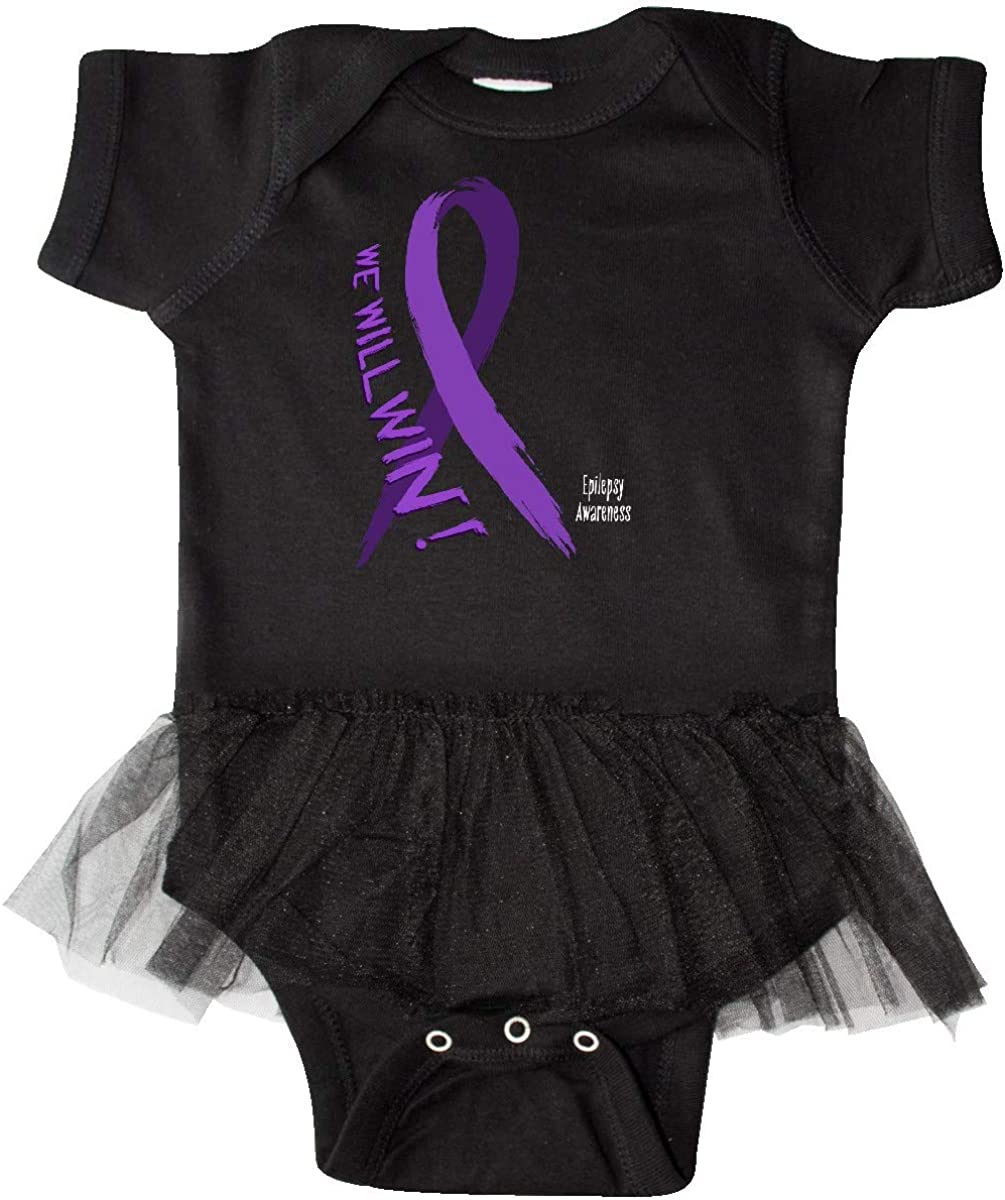 inktastic We Will Win Epilepsy Awareness with Purple Ribbon Infant Tutu Bodysuit