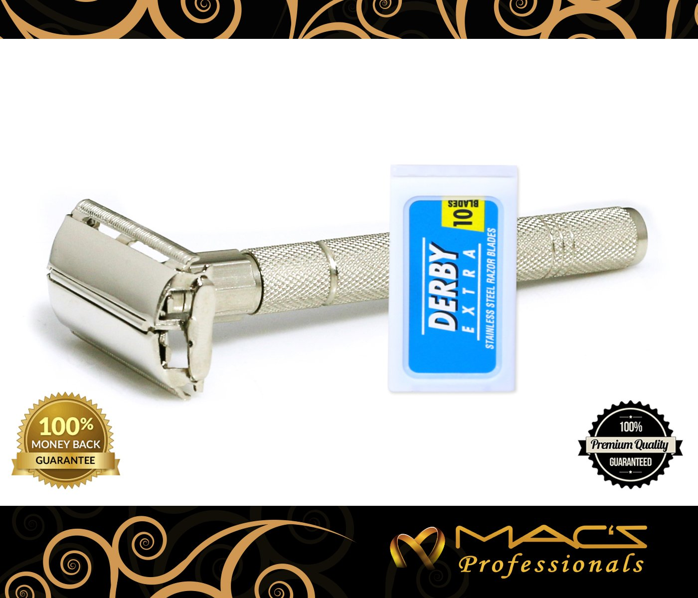 Macs Deluxe Double Edge Safety Razor-Butterfly Safety-Shaving Razor +10 Derby Long Lasting Platinum-Chrome Super Sharp Stainless Steel Blades in Box, This is the Best Shaving Razor of Your Life-2057BF Macs Razor products