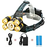 LED Headlamp,SGODDE Super Bright 5 LED 8000 Lumens Zoomable Headlight - 4 Modes XML T6 LED Waterproof Head torch with Rechargeable Batteries for Outdoor Hiking Camping Hunting Fishing Cycling Running