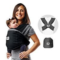 Baby K'tan Active Oasis Baby Carrier – No-Wrap Hygienic Baby Wrap with HeiQ V-Block Fabric - Simple Pre-Wrapped Infant Carrier for Babywearing, Black&Grey, Medium (Women 10-14 / Men 39-42)