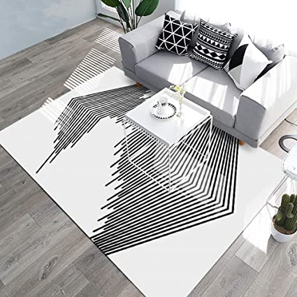 YAMTION Living Room Rugs, 5.3\'x 8 Modern Multi-Function Area Rugs  Collection, Non Slip Abstract Striped Black Soft Carpet, Indoor Bedroom  Rugs in ...