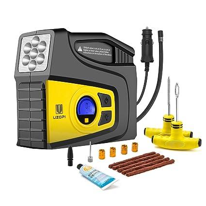 Compresor de Aire Automático,VOOKI bomba inflador portátil con luz LED Para Vehículos, Neumáticos