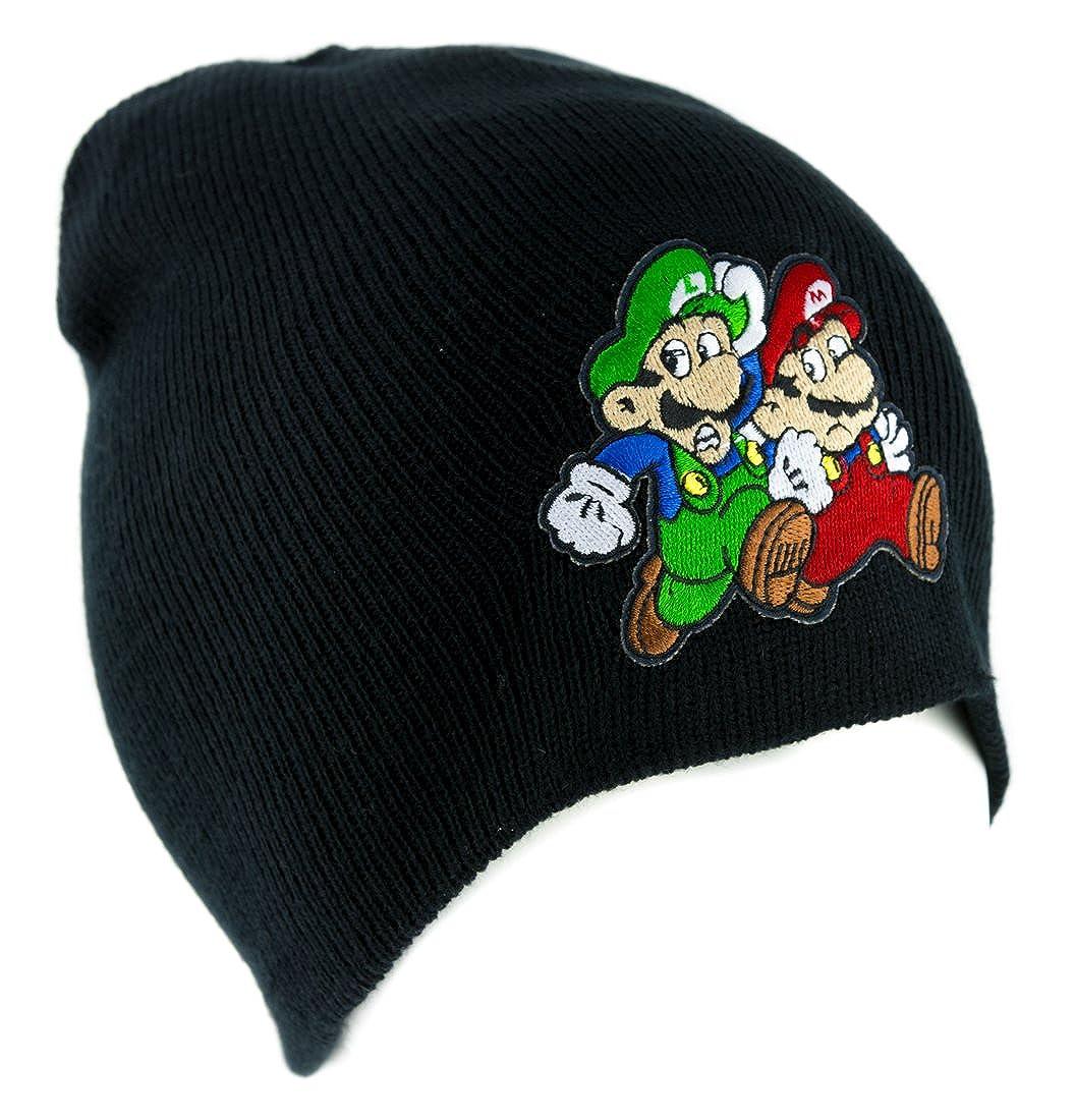 456e7d9a12c Amazon.com  Mario and Luigi Running Beanie Knit Cap Alternative Clothing Super  Mario Bros.  Clothing