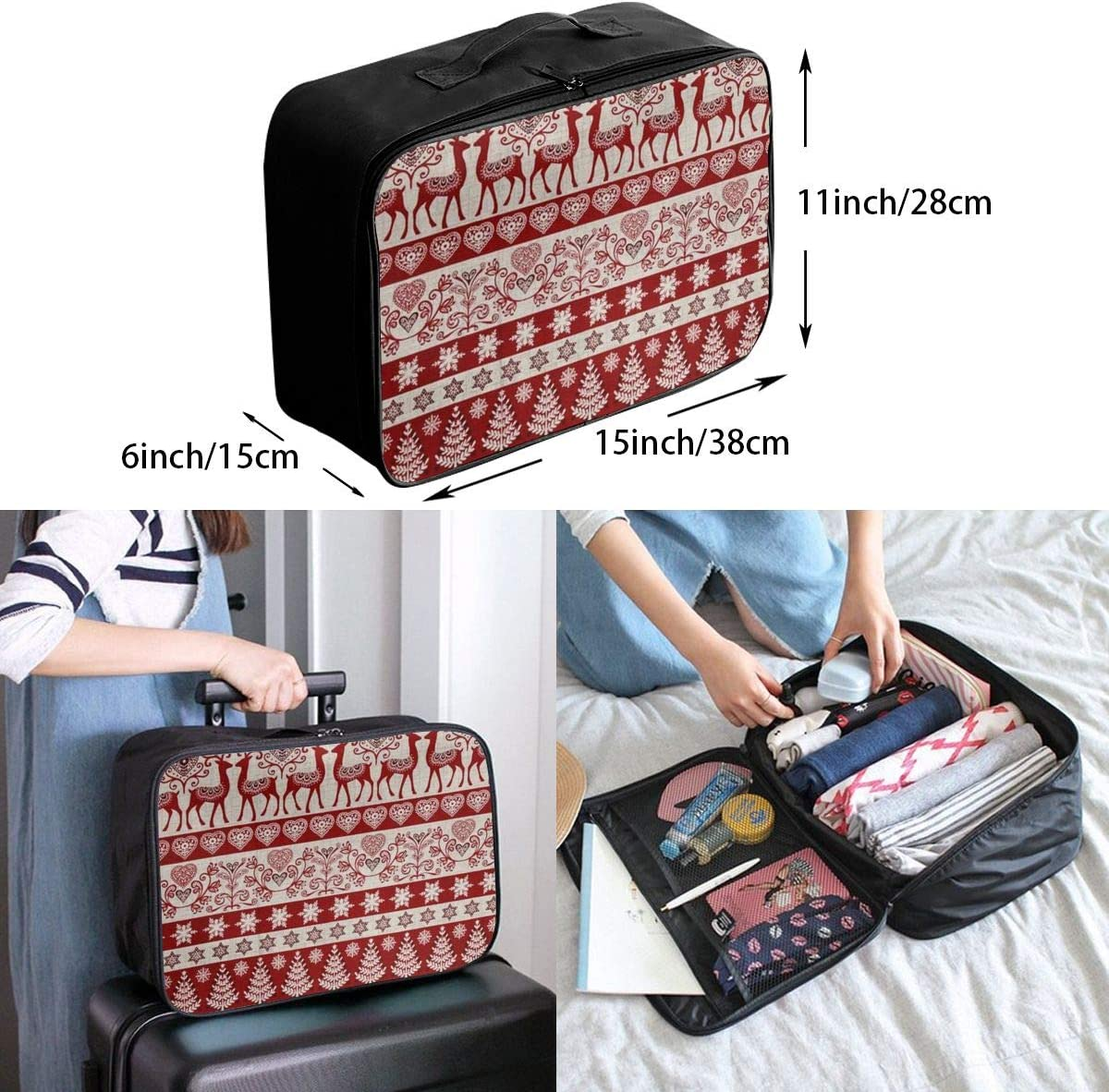 Christmas Elk Deer Plaid Travel Carry-on Luggage Weekender Bag Overnight Tote Flight Duffel In Trolley Handle