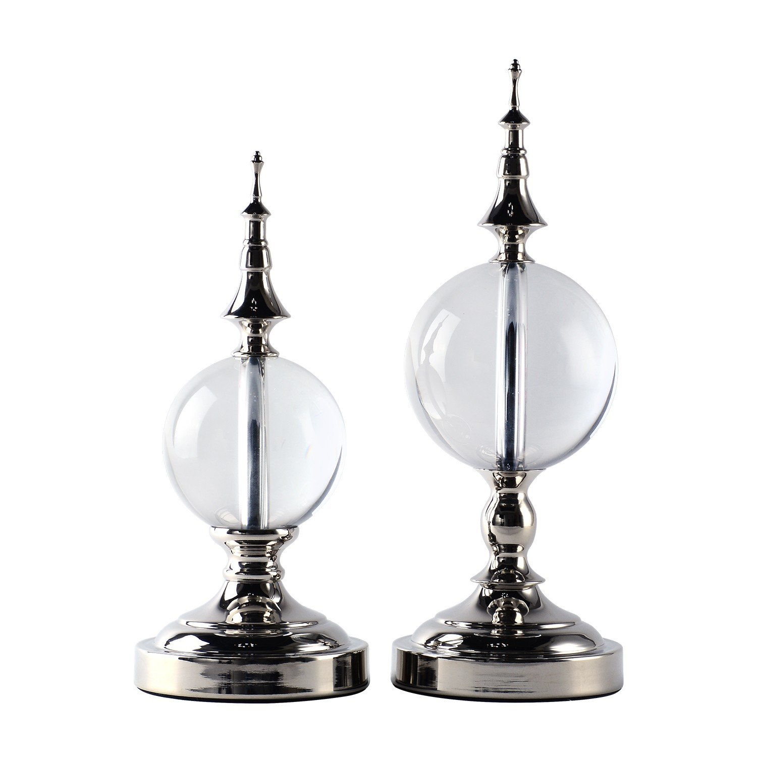 BRLIGHTING Tower Decoration Ancient Silver Pagoda Centerpiece with Solid Crystal for Home Office Hotel Decoration Crystal Ball Set of 2 Small &Big
