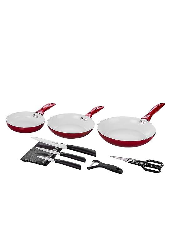 Santa Clara Quttin Set 3 Sartenes Eco + Set Cuchillos Suprem Ceramic Rojo: Amazon.es: Hogar