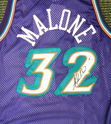 dfab1490fa0b Utah Jazz Karl Malone Autographed Authentic Champion Purple Jersey ...