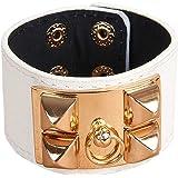 Censtusllery Leather Wristband Bracelet,Punk Alloy Buckle Bangle,Leather Bracelet,Fashion Alloy Buckle Bracelet Bangle For Mens