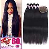8A Malaysian Straight Hair 4 Bundles With Closure Virgin Unprocessed Human Hair Wefts Hair Extensions Deal With Mixed Lengths 18 20 22 24 Inches With 16 Inches Free Part Closure