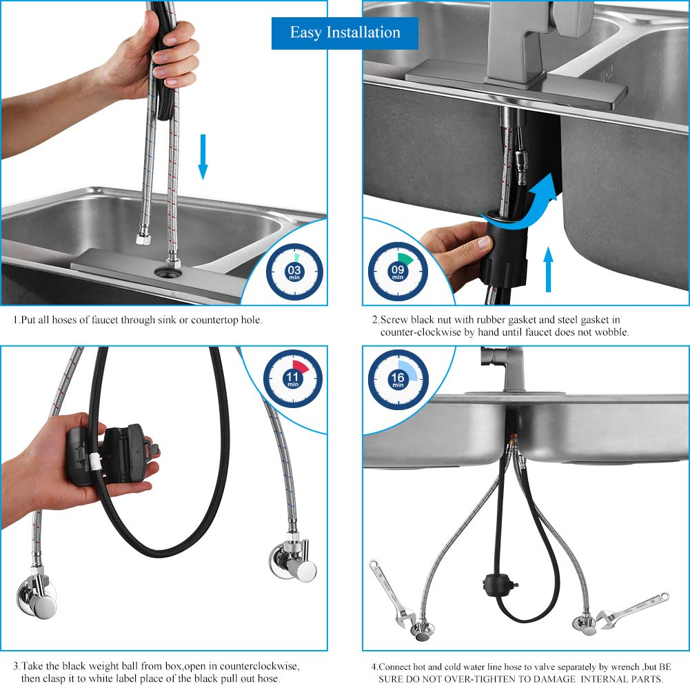 Kitchen sink faucet-Arofa A03LY single handle brushed nickel stainless steel gooseneck kitchen faucets with pull down sprayer by Arofa (Image #3)