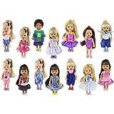 ZITA ELEMENT Ropa de Muñeca 6 Conjuntos Moda Mini Ropa Encantadora Vestido de Traje para Hermana Pequeña de Barbie Kelly Muñeca