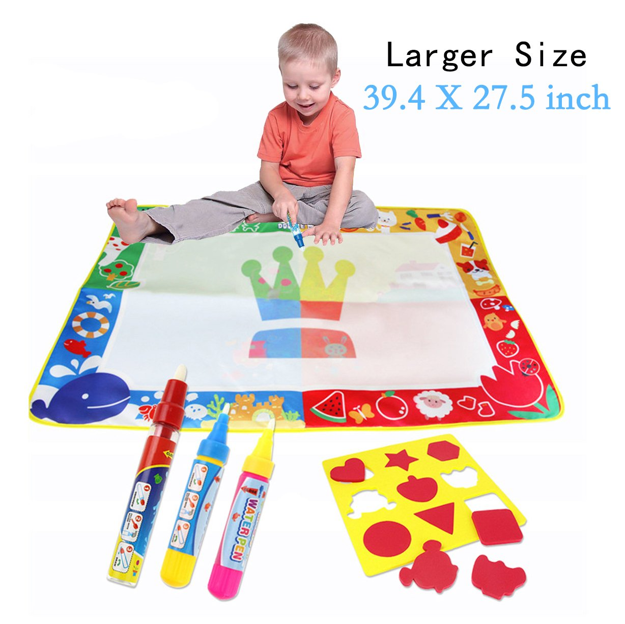 dOvOb Water doodle Mat - Larger Size (39.4 X 27.5 inch) Drawing Mat with 3 Magic Pens & 9 Stamps - Painting Pad Educational Learning Toy | Birthday Gifts for Kids(Boys | Girls)Age 2 3 4 5 6+ Years Old