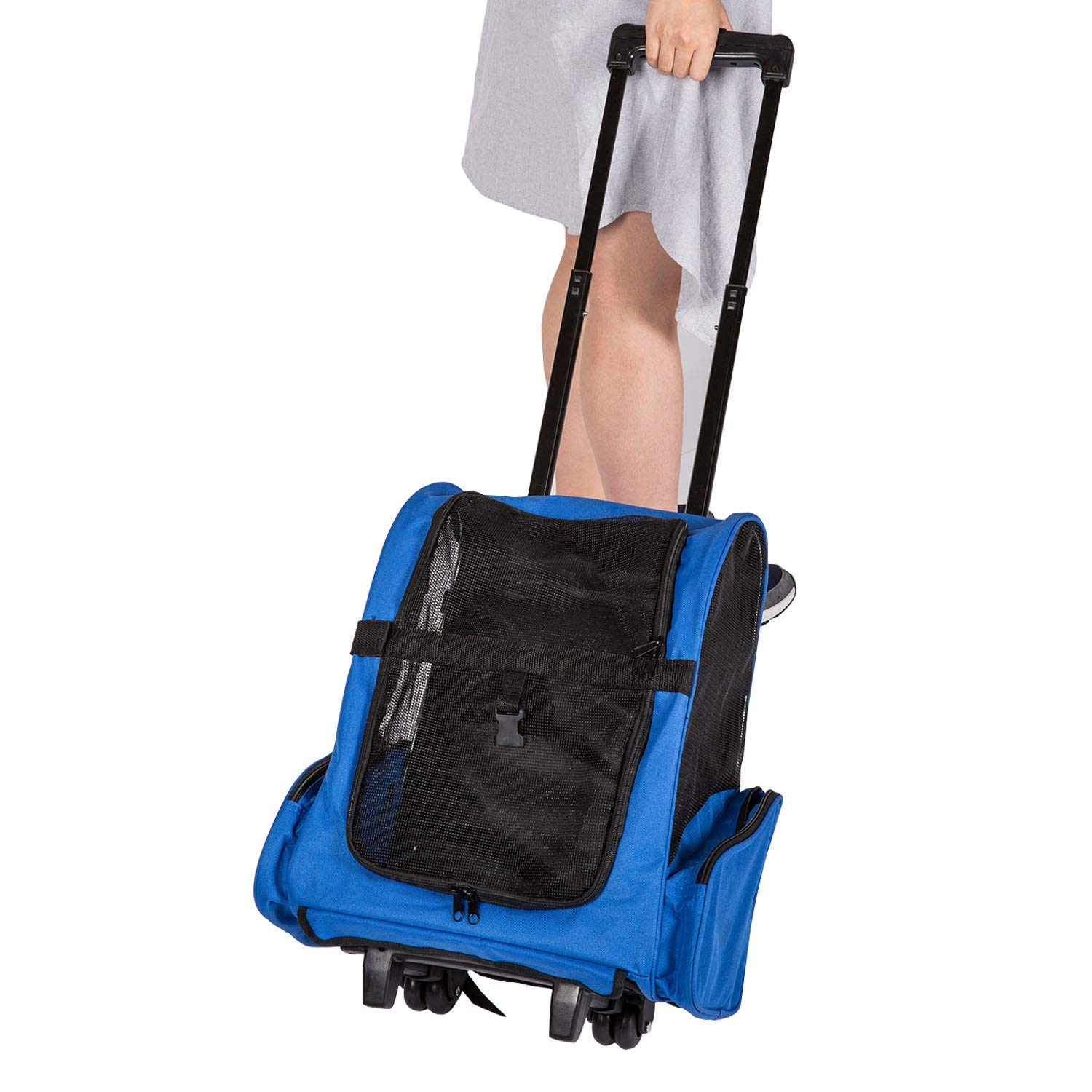 Kinbor Pet Travel Rolling Backpack Rolling Carrier for Dogs Pet Carrier with Wheels Rolling Pet Travel Tote Airline Approved with Storage Pocket