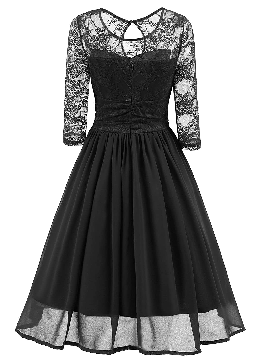 Tecrio Women s Vintage Floral Lace 3 4 Sleeve Dress Up Prom Swing Party  Dress at Amazon Women s Clothing store  b0ed5b92de14