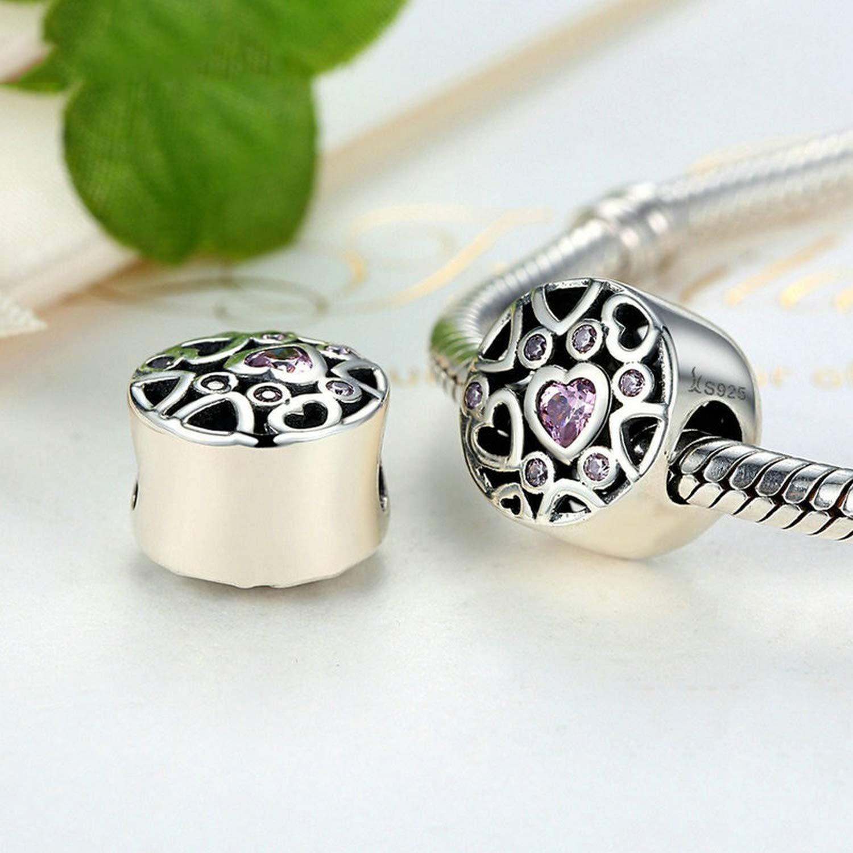 EverReena Lovely Heart Charm Silver Beads Bracelets