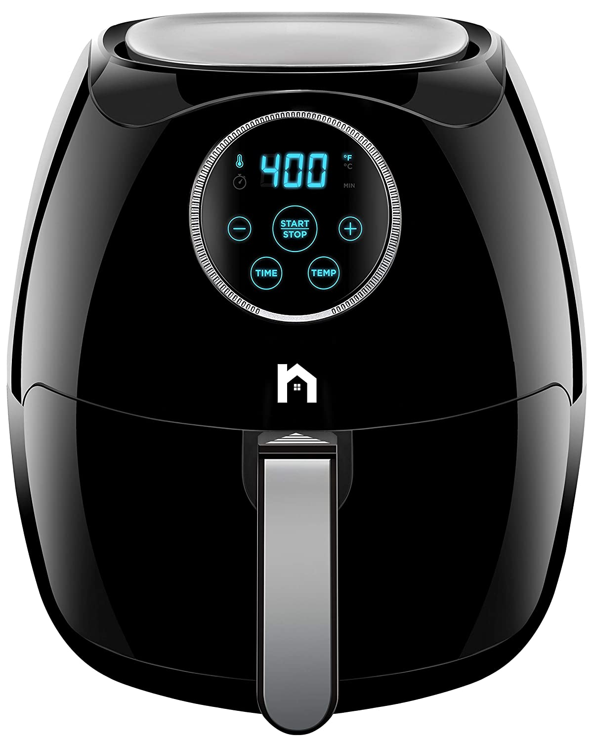 New House Kitchen Digital 6.5 Liter Air Fryer w/Flat Basket Oil-Free Touch Screen AirFryer, Dishwasher-Safe Parts, Fast Healthier Food, 60 Min Timer & Auto Shut Off, Extra Large Family Size, Black