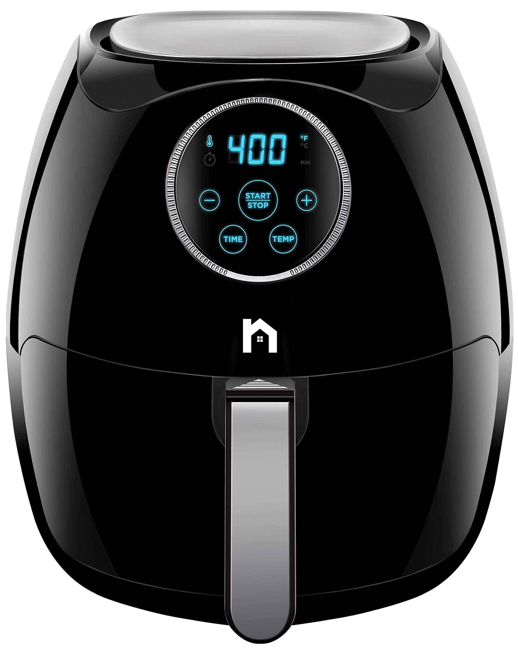 New House Kitchen Digital 6.8 Quart Air Fryer w/ Flat Basket, Oil-Free Touch Screen AirFryer, Dishwasher-Safe Parts, Fast Healthier Food, 60 Min Timer & Auto Shut Off, Extra Large Family Size, Black by New House Kitchen