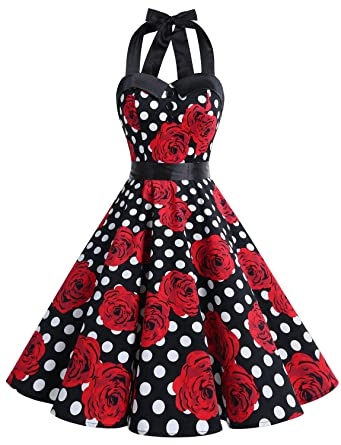 Dressystar Vintage Polka Dot Retro Cocktail Prom Dresses 50s 60s Rockabilly Bandage Black White ...