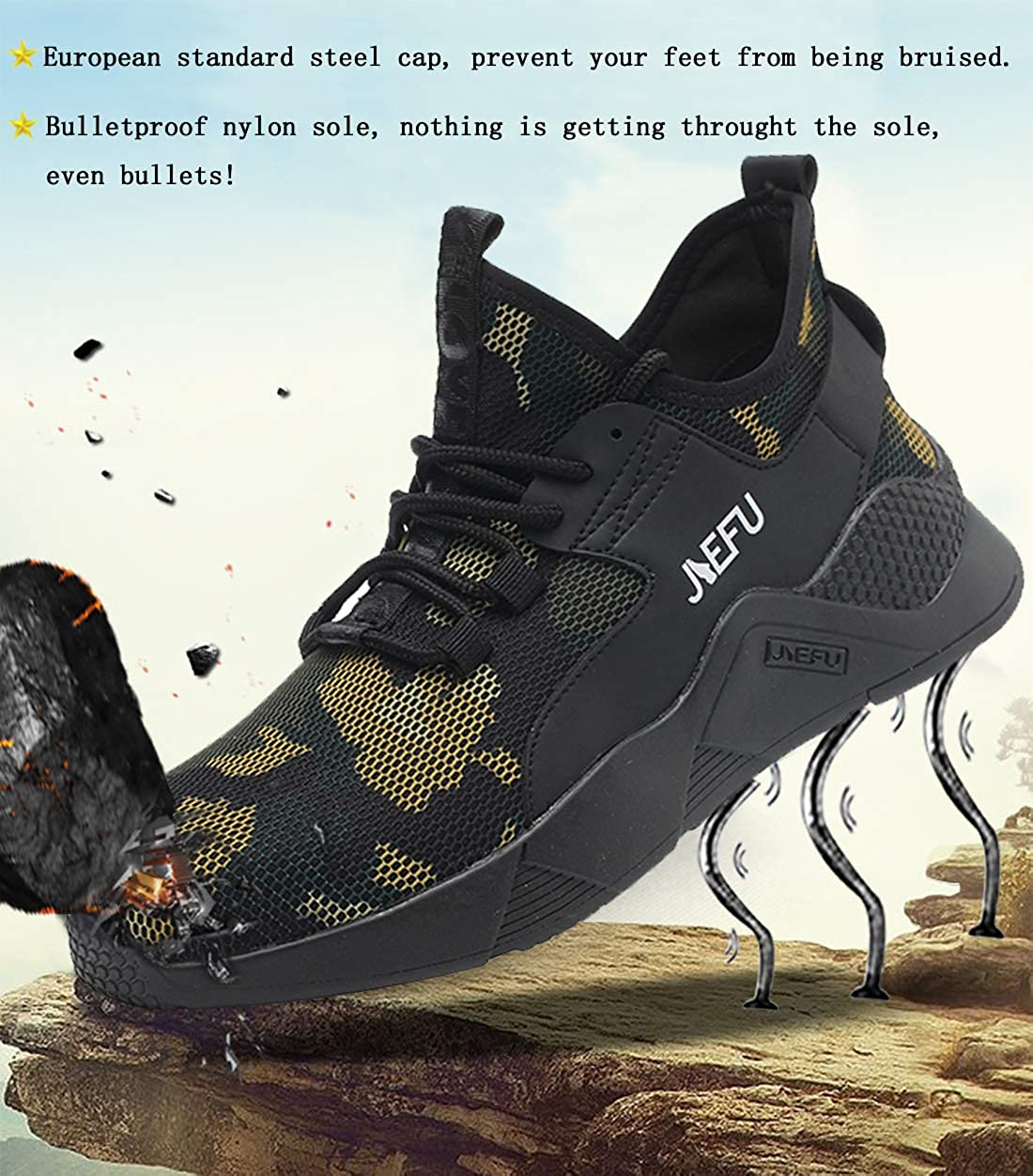 SROTER Unisex Steel Toe Cap Safety Ultra Lightweight Breathable Work Trainer Shoes Sport Sneaker Safety Shoes Men Women