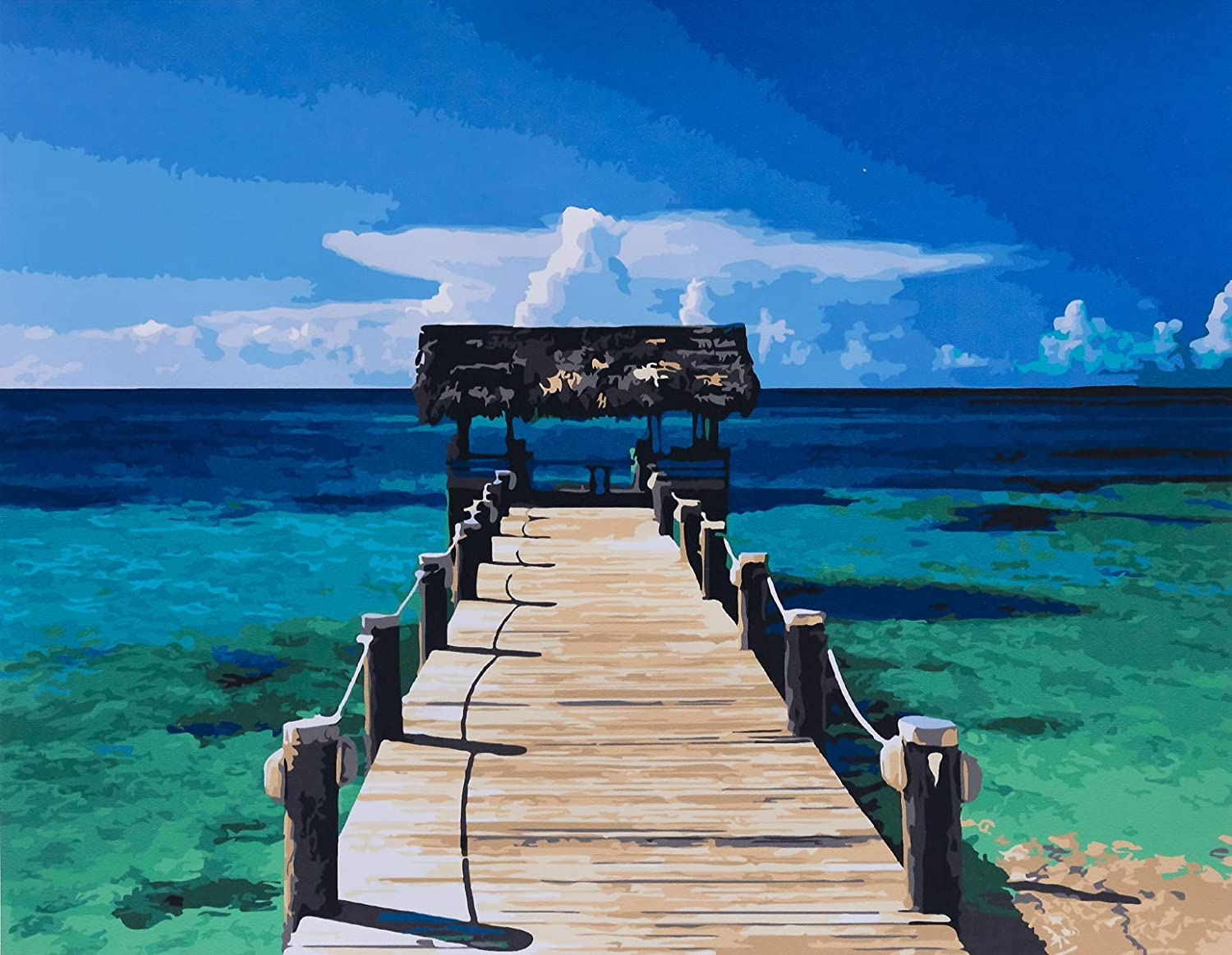 Hammock Sun Sea Landscape Paint By Numbers Kit DIY Number Canvas Painting Oil