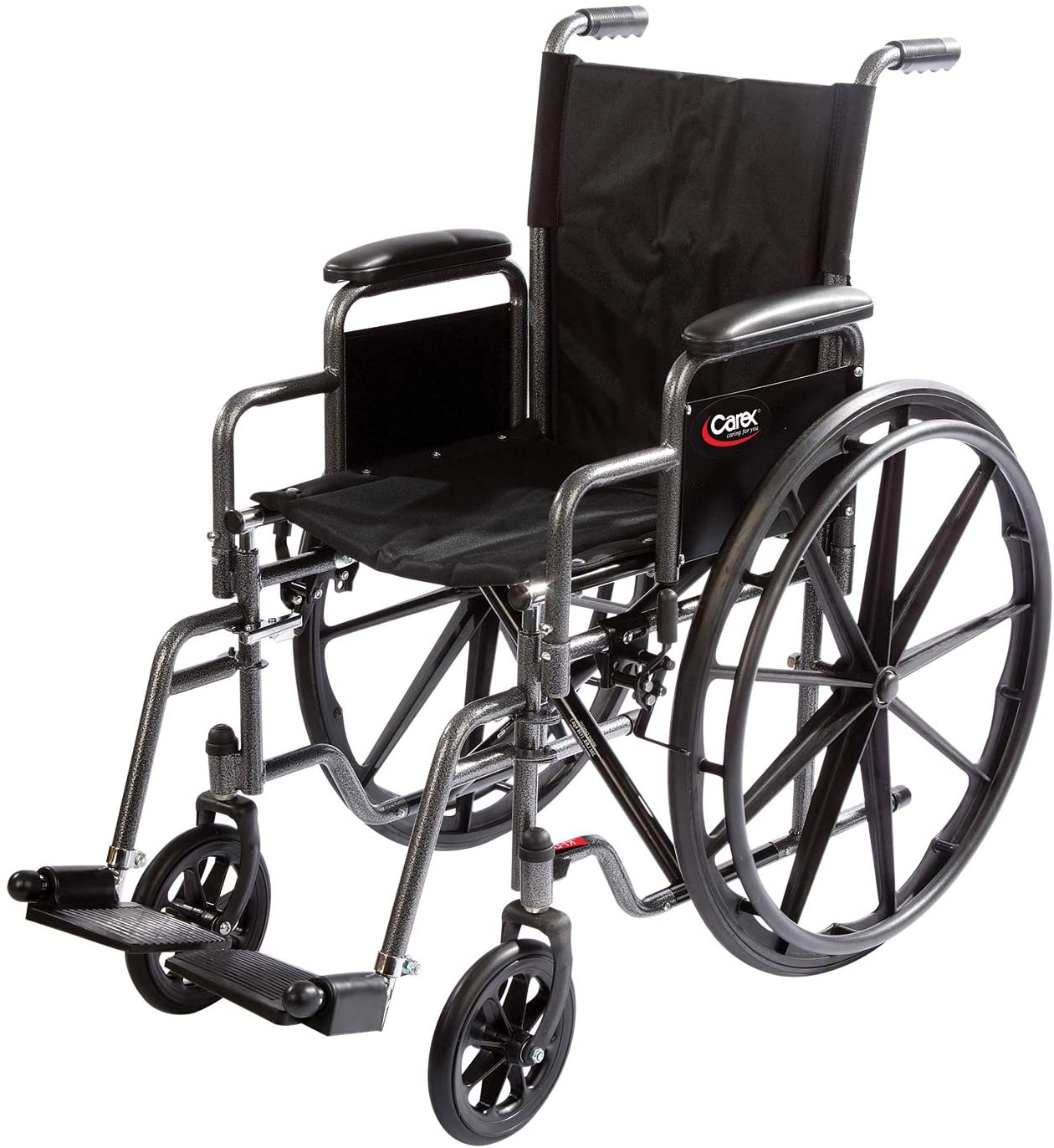 Carex Wheelchair with Large 18 Padded Seat - Wheel Chair with Adjustable and Removable Swing-Away Footrests - Folding Chair for Compact Storage, 250lb Capacity, Black 71bmP5NkwPLSL1500_