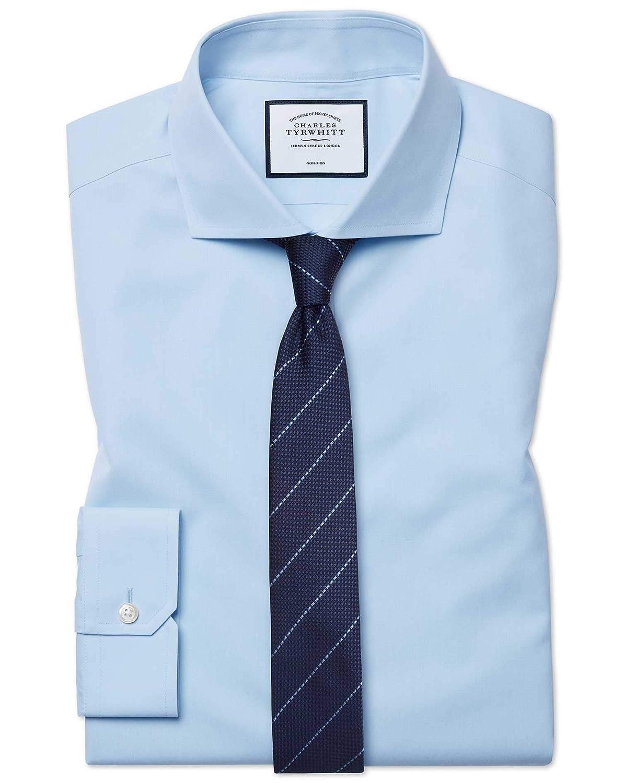 Chemise à Col Cutaway En Popeline Bleu Ciel Super Slim Fit Sans Repassage   Bleu Ciel (Poignet Simple)   15.5   35