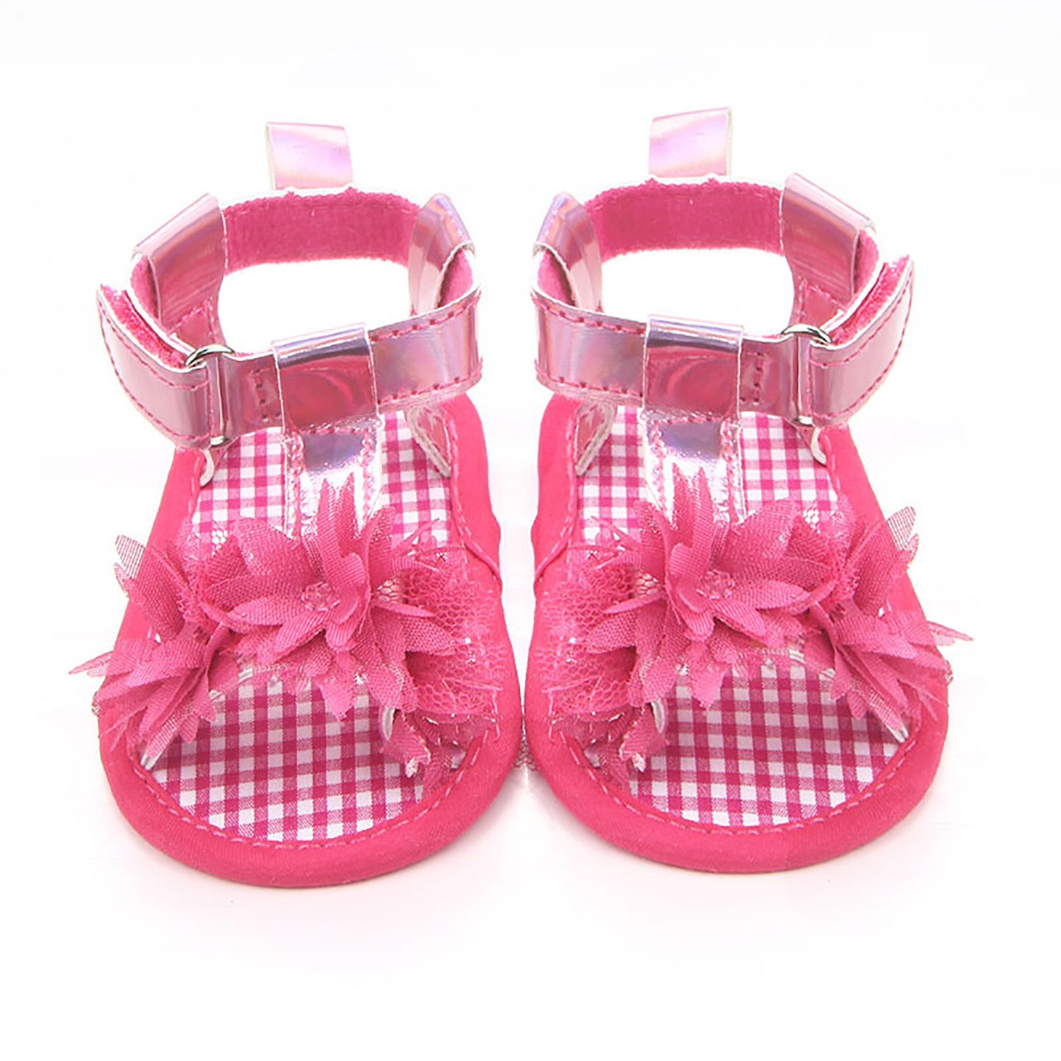 GESELLIE Infant Baby Girls Soft Anti-Slip T Strap Sandals First Walker Crib Shoes