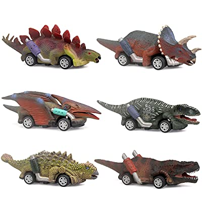 ZHFUYS Dinosaur Toy car,boy Toys Age 3 to 12 Toy Dinosaur 5.3 Inch Toys for 3,4,5,6,7,8,9,10,11,12 Year Old Boys Full-Form Dino car Toy,6 Pack: Toys & Games