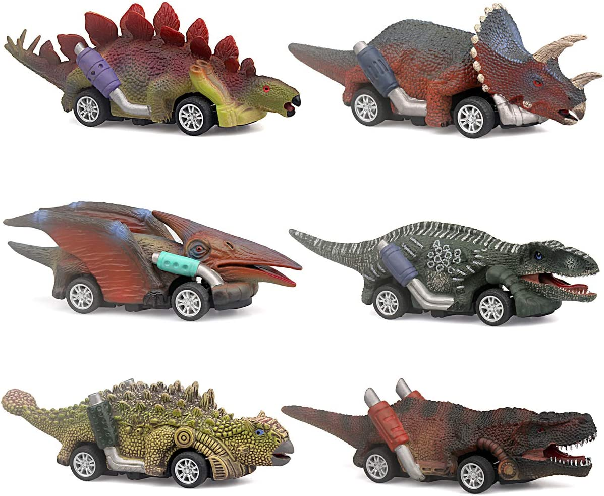 ZHFUYS Dinosaur Toy car,boy Toys Age 3 to 12 Toy Dinosaur 5.3 Inch Toys for 3,4,5,6,7,8,9,10,11,12 Year Old Boys Full-Form Dino car Toy,6 Pack